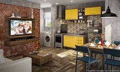 Resultado de imagem para sala de estar Flat Screen, Kitchen Cabinets, Decor, House, Kitchen, Home, Cabinet, Television, Home Decor