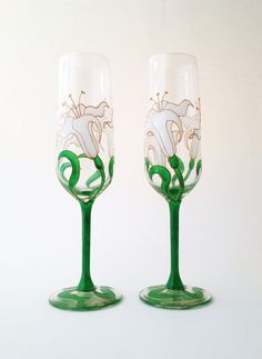 Pair of Lily wedding champagne toasting flutes by ToastedGlass