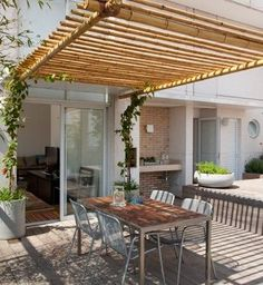 The pergola kits are the easiest and quickest way to build a garden pergola. There are lots of do it yourself pergola kits available to you so that anyone could easily put them together to construct a new structure at their backyard. Outdoor Decor, Outdoor Space, Outdoor Living, Bamboo Roof, Pergola Attached To House