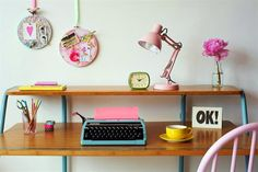 Work space/Inspiration space HOUSE of PHILIA: girls room Classroom Sign I like the desk layout; one shelf above the main area. Workspace Inspiration, Decoration Inspiration, Interior Inspiration, Colour Inspiration, Office Decor, Home Office, Office Ideas, Office Nook, Desk Office