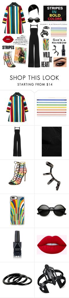 """""""Stripes In Bold Colors - (Mary Katrantzou)"""" by amber-the-stylist ❤ liked on Polyvore featuring Mary Katrantzou, Polaroid, Repossi, Nicole, Kate Spade, Casetify, ZeroUV, Azature, Lime Crime and Furla"""