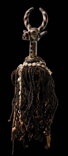"Africa | Antelope dance crest ""zazaigo"" from the Mossi people of Burkina Faso | Wood, paint, raffia, cowrie shells"