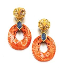 Pair of coral and sapphire ear clips, David Webb