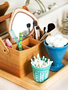 Divide, Then Divide Again - OMG Why didn't i think of those cute little silverware caddies before. Already using the tray and cups as holders! Kitchen Storage Hacks, Bath Storage, Ikea Storage, Storage Room, Storage Ideas, Bedroom Closet Storage, Master Bedroom Closet, Master Bathroom, Silverware Caddy