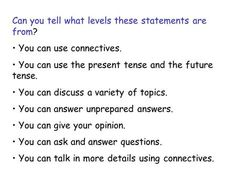 Can you tell what levels these statements are from? You can use connectives. You can use the present tense and the future tense. You can discuss a variety. Le Catch, French Language Lessons, French Lessons, Ab Initio, Present Tense, The Tenses, Future Tense, Teaching French, Learn French
