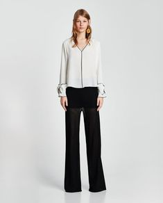 ZARA - WOMAN - TOP WITH CONTRASTING PIPING