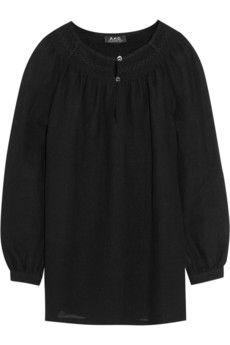 A.P.C. Atelier de Production et de Création Primrose embroidered crepe blouse | NET-A-PORTER