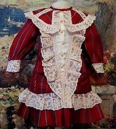 "Burgundy Silk Dress fits 23"" Antique French Bebe or German Doll http://www.dollshopsunited.com/stores/antiquedollplace/items/1293954/Burgundy-Silk-Dress-fits-23-Antique-French-Bebe-German #dollshopsunited"