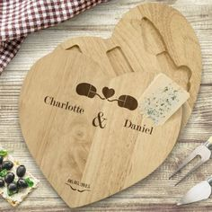 Engraved Wooden Heart Cheese Board Set - Geek Love