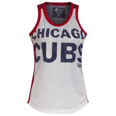 318b3f565 Chicago Cubs White and Royal Text and Bullseye Logo Opening Day  Jersey-Style Tank Top