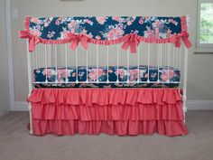 Pink, Coral, Purple, Navy Floral  Baby Girl Crib Cot Bedding