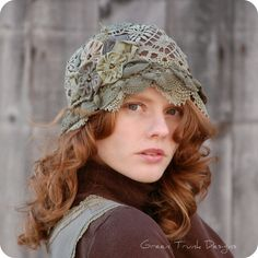 Woodland Cloche Hat Earthy Green Lace by GreenTrunkDesigns