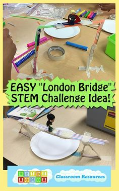 "EASY ""London Bridge"" STEM Challenge Idea -using craft sticks, straws, tape, etc to build bridge that can support action figure. For younger kids, can also use Lego/Duplo instead of craft materials so it's even easier."