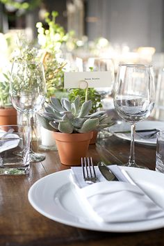 A Magnificent Calgary Wedding Fuses Classic & Fun #refinery29  http://www.refinery29.com/martha-stewart-weddings/11#slide15  Guests took home potted succulents as favors, which doubled as decor.