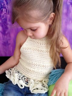 Crochet ivory top/ Ruffles crochet top/ Festival toddler top/ Baby crochet crop top/ Open back top/ Crochet bohemian top/ Crochet halter top by ElenaVorobey on Etsy