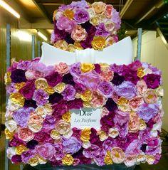 Dior Flowers, Flower Installation, Creative Words, Floral Design, Floral Wreath, Wreaths, Bottle, Fragrance, Floral Crown