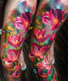 52 Ideas For Tattoo Flower Sleeve Color Beautiful Tattoo Photo, Hawaiianisches Tattoo, Full Tattoo, Cover Up Tattoos, Photo Realism Tattoo, Time Tattoos, Body Art Tattoos, Sleeve Tattoos, Pretty Tattoos
