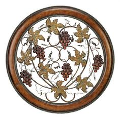Beautiful in its old-world appeal, the DecMode Metal Grapes & Vine Wall Sculpture features an open metal design in a circular cherry wood finish. Metal Wall Decor, Metal Wall Art, Framed Wall Art, Wall Décor, Metal Wall Sculpture, Wall Sculptures, Turquoise Kitchen Decor, Wine Wall Art, Wine Decor
