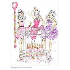 PARTY GIRLS Illustration by Fashion Illustrator SANDY M is now available as a print in the new SHOP at www.sandymillustration.com #sandymillustration #sandym #art #illustration #fashionillustration #print