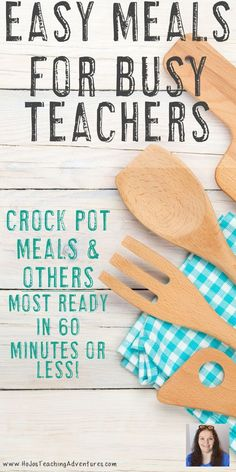 Teachers are busy - that's why we all need some easy meals for busy teachers! There are recipes for the crock pot and other ideas you can use to have supper on the table in 60 minutes or less. Plus you'll have access to a FREE printable to help make meal planning a breeze. Take the stress out of cooking, stay on a budget, and stick to a healthy diet with the links and recipes here. Check them all out now!