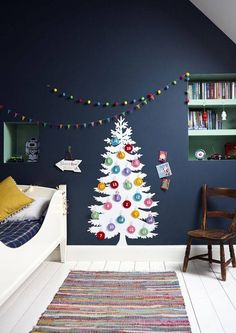 Christmas Help Top 40 Christmas Decorating Ideas For Kids Room Christmas Celebrations Blackjack: Lea Christmas Bedroom, Cozy Christmas, All Things Christmas, Christmas Ideas, Boys Bedroom Decor, Cozy Bedroom, Christmas Getaways, Tree Wall Decor, Modern Bedroom Design