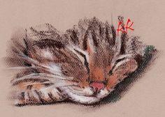 ACEO PRINT Brown Tabby Cat  Pastel Drawing by OneKeeneKat on Etsy, $3.99