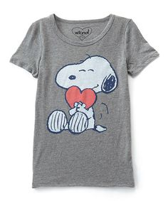 Look what I found on #zulily! Gray Snoopy Heart Tee - Women #zulilyfinds
