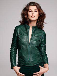 Veste en cuir couleur verte