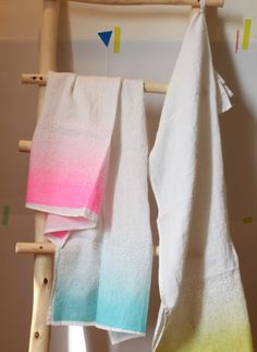 Hand printed linen tea towel by Maison Georgette  Limited edition t-towels.  You've probably realised we've got a weakness for florescent colours. Welcome springtime into your kitchen with these happy, hand-printed tea towels by our friends at Maison Georgette. #thecollection