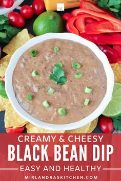 I make this easy, healthy black bean dip for lunch all the time! We love to dip veggies and chips in the creamy, cheesy dip and it is full of protein to help keep us going! It is also a great party food or appetizer at a BBQ. This recipe is kid friendly and not spicy. Use up your extra cans of beans with this recipe! #healthy #dip #veggies #blackbeans #pantrystaples #simplelunch Easy Chicken Recipes, Easy Healthy Recipes, Delicious Recipes, Healthy Food, Kids Meals, Easy Meals, Vegetarian Appetizers, Vegetarian Recipes, Fresh Tortillas