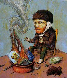 Absinthe make Van Gogh out of mind!!!! BURNING #art #irony