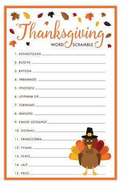 Thanksgiving Word Scramble   Free Printable Thanksgiving Activities