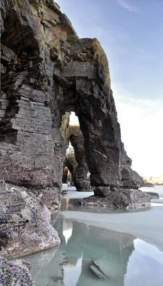 Ancient stone caves and sparkling water, Playa de las Catedrales, Ribadeo, Galicia Places Around The World, Oh The Places You'll Go, Places To Travel, Places To Visit, Around The Worlds, Wonderful Places, Beautiful Places, Magic Places, Phuket