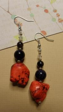 Red Howlite & Blue Sandstone Dangle Earrings  Red howlite, dark red garnet & blue sandstone gemstones with clear swarovski crystals accented with silver on french hooks. Measures approx. 2 1/2 inches in length. Hand amde, brand new & never worn.  Pi...