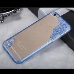 Rhinestone Clear Flower Hard Case Cover Bling Diamonds Crystal Rhinestone Clear Hard Case Cover for iPhone 6 or 6 Plus.  Color-blue.  Let me know in comment what size is needed❗️. Accessories Phone Cases
