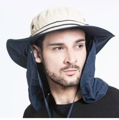 Mens fishing bucket hat with neck flap for summer sun protection hat Fishing Bucket Hat, Fishing Hats, Sun Protection Hat, Summer Hats For Women, Outdoor Wear, Navy Color, Summer Sun, Sun Hats, Camping