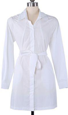 Plain tie waist long-sleeved shirt white