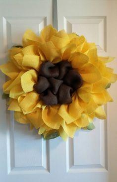 Sunflower Burlap Wreath, Front Door Wreaths, Summer Wreaths, Sunflower Wreaths by DelightfullyQuaint on Etsy https://www.etsy.com/listing/231464236/sunflower-burlap-wreath-front-door