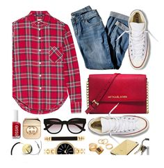 Casual in Plaid by monmondefou on Polyvore featuring мода, R13, Converse, Michael Kors, Style & Co., Pieces, Witchery, Goldgenie, Frends and Gucci