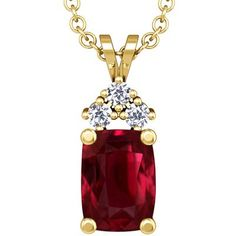This highly elegant pendant comes with three round prong set diamonds with 0.09 carat total weight set around a 3.11ct. rare untreated cushion ruby. The Ruby has pigeon blood red color, FL eye clarity and excellent brilliance. $117383.00