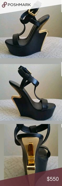 Giuseppe zanotti shoes women 7.5 Women shoes only two times placed 100% original black and gold did not hit returns as same see it in the photo is as it is Shoes Heels