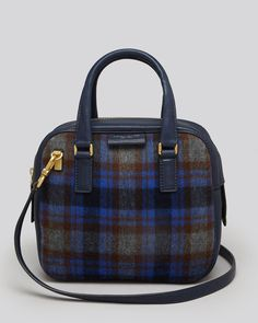 Save on the Marc by Marc Jacobs New Plaid Show Group Clover Blue Grey Wool Leather Satchel! This satchel is a top 10 member favorite on Tradesy. See how much you can save Designer Handbags On Sale, Vintage Bags, Tartan Plaid, Bag Sale, Leather Satchel, Blue Grey, Marc Jacobs, Calves, Kate Spade