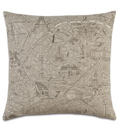 La Carte from Eastern Accents Colorful Pillows, Decorative Throw Pillows, French Inspired Bedroom, Paris Map, Eastern Accents, Luxury Bedding Collections, Runes, Table Runners, Floor Pillows