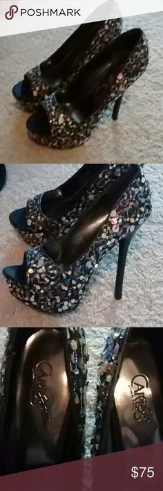*BNWOT* Carlos Santana Peep-Toe Pumps Super fun Multi color confetti sequence over black... 6 inch heels. Brand new, never worn. Carlos Santana Shoes Heels
