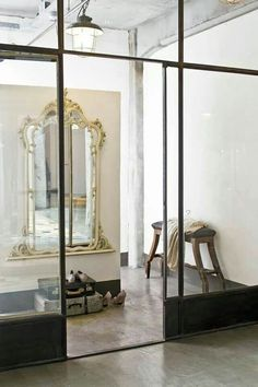 greige design: interior design ideas and inspiration for the transitional home : weekend wishes. Steel Windows, Windows And Doors, Steel Doors, Interior Architecture, Interior And Exterior, Interior Design, Interior Door, Wall Separator, Casa Loft