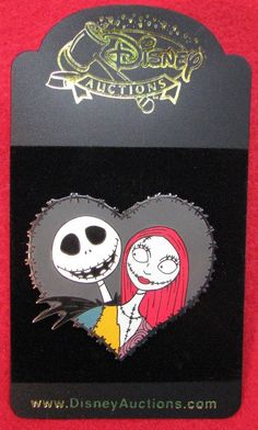 Disney Auctions Exclusive Jack Skellington and Sally Heart Pin, MOC! LE 1000