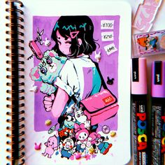 tokidoki drink 🥛🍩🌸 I love the world/characters created by , I used to love them as a kid but never had the chance to get them… Posca Marker, Marker Art, Cute Art Styles, Cartoon Art Styles, Posca Art, Arte Sketchbook, Art Anime, Sketchbook Inspiration, Art Graphique