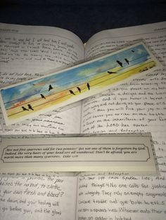 Original hand-painted watercolor bookmark with verse