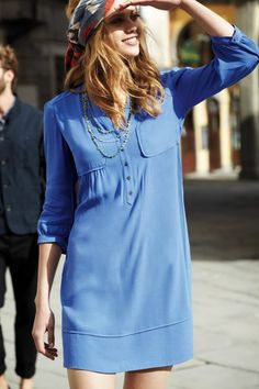 Street Style, Rayon blue dress, Taryn Crepe Shift #womensfashion #streetstyle