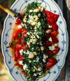 Roasted Pepper Salad with Chickpeas - Salat Salad Recipes, Snack Recipes, Dinner Recipes, Healthy Recipes, Fried Peppers, Roasted Red Peppers, Turkish Recipes, Greek Recipes, Ethnic Recipes